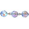 Beaded Chain 8mm Light Sapphire/silver Aurora Borealis